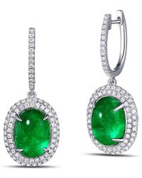 SILVER YULAN | Cabochon Emerald Diamond Earrings | Lyst