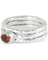 Paul Magen - Sterling Silver & Garnet Tribus Stack Ring | - Lyst