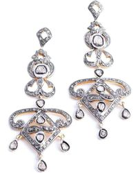 M's Gems by Mamta Valrani - Crest Earrings With Diamonds - Lyst