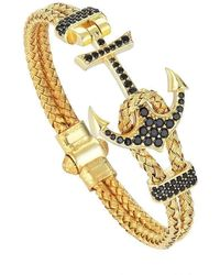 Atolyestone London - Silver & Yellow Gold Plated Anchor Bracelet - Lyst