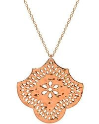 Murkani Jewellery - Rose Gold Flower Pendant Necklace - Lyst