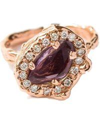 LaParra Jewels 9kt Rose Gold Ring With Diamonds & Purple Sapphire - Multicolor