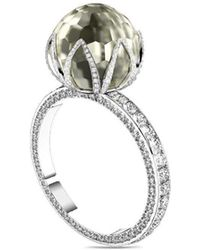 MARCELLO RICCIO - White Gold, Faceted Pearl & Diamond Ring - Lyst