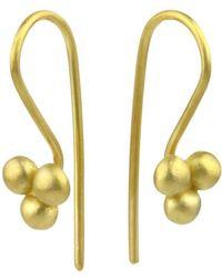 Prism Design - 9kt Gold Triple Sulis Bead Earrings - Lyst