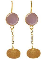 Isla - Pink Quartz Plate Earring - Lyst