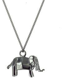 Origami Jewellery - Black Silver Mini Elephant Origami Necklace - Lyst