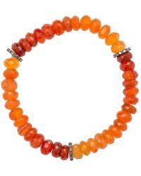 Heather Kenealy Jewelry - Graduated Colour Carnelian And Pave Diamond Bracelet - Lyst