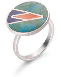 SOLUNA - Sterling Silver Mosaic Ocean Ring - Lyst