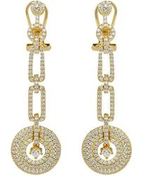 Lustre of London - Yellow Art Deco Drop Earrings - Lyst