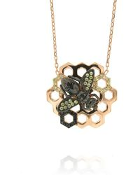 Cosanuova - Rose Gold Plated Sterling Silver Honeycomb Bee Black Cz Necklace - Lyst