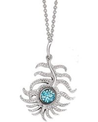 London Road Jewellery | Portobello White Gold Blue Zircon Peacock Pendant | Lyst