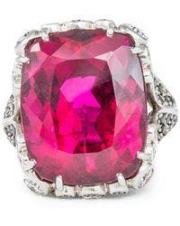 Katherine LeGrand Custom Goldsmith - White Gold, Tourmaline & Diamond Haute Bijoux Ring | Katherine Legrand - Lyst