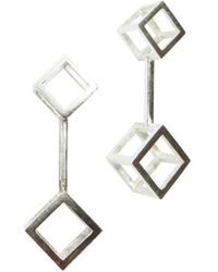 Stephanie Bates - Double Cube Drop Earrings Long - Lyst