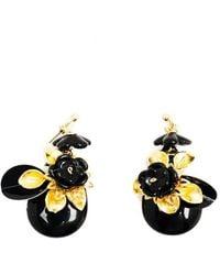 Pats Jewelry - Brass & Black Glass Camellia Sansuaguas Earrings - Lyst