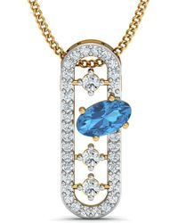 Diamoire Jewels - Nature Inspired Oval Aquamarine Pendant With Premium Diamonds In 14kt Yellow Gold - Lyst