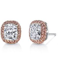 Harry Kotlar | Kotlar Cushion With Fancy Intense Pink Pave Stud Earrings | Lyst