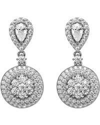Lustre of London - White Cluster Drop Earrings - Lyst
