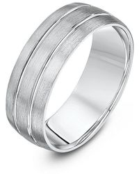 Star Wedding Rings - Palladium Court Shape Matt With Two Polished Grooves 7mm Wedding Ring - Lyst