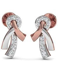 Diamoire Jewels Nature Inspired 18 Premium Quality Diamonds and 14kt Rose Gold Pave Set Earrings WNvOi6e