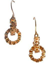 Karen Fox - Gold Circle Ruffle Link Earrings - Lyst