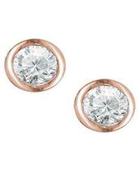 London Road Jewellery - Rose Gold Raindrop Diamond Solitaire Earrings - Lyst