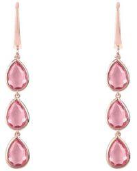Latelita London Sorrento Triple Drop Earrings Rose Gold Pink Tourmaline Z5d8VN