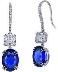 SILVER YULAN - Cushion Cut Sapphire Diamond Earrings - Lyst