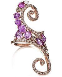 Pinomanna - Rose Gold, Diamond & Sapphire Ramage Collection Ring   - Lyst