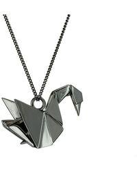 Origami Jewellery Titanium Black Silver Swan Necklace oRA8Ut0H