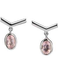 Carolin Stone Jewelry Sterling Silver Rose Quartz Simple Visionary Earrings - Multicolour