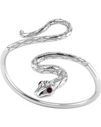 London Road Jewellery - Kew Serpent Sterling Silver Ruby Bangle - Lyst
