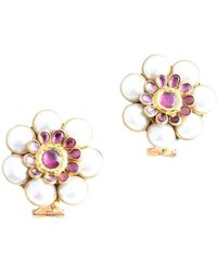 M's Gems by Mamta Valrani - Desert Rose Earrings With Pearl And Rodolite - Lyst