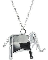 Origami Jewellery - Elephant Silver Necklace - Lyst