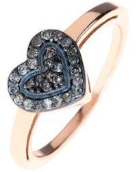 LÁTELITA London - Diamond Mini Heart Rose Gold Ring - Lyst
