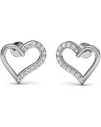 Diamoire Jewels - Heart Shaped 10kt White Gold Pave Diamond Earrings - Lyst