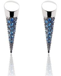 Xavier Civera - White Gold And Blue Sapphire Earrings - Lyst