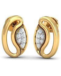 Diamoire Jewels Eye-catching Diamond Pave Earrings in 18kt Yellow Gold wWO3gdAM9X
