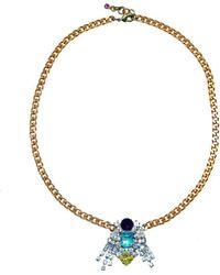 FUCHSIA by Izumi Tahara - Czech Button And Fringed Rhinestone Pendant Necklace - Lyst