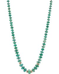 Nadean Designs - Emerald 14kt Gold And White Diamond Knotted Necklace - Lyst