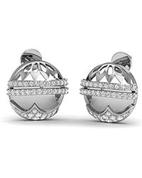 Diamoire Jewels - 10kt White Gold Pave Si3 Diamond Earrings - Lyst