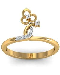 Diamoire Jewels - 18kt Yellow Gold Pave 0.07ct Diamond Infinity Ring V - Lyst