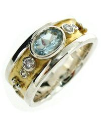 Will Bishop Small Sterling Silver & Blue Topaz Drum Ring - UK G - US 3 3/8 - EU 45 1/4 0lbW4