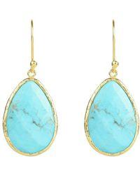 Latelita London Gold Single Drop Earring in Turquoise c5WjDLPSE