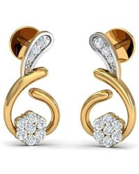 Diamoire Jewels 10 Round Cut Diamonds and 10kt Yellow Gold Nature Inspired Pave Earrings h30Ojm5O3o