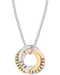 Lily and Lotty - Scripted Personal 3 Colour Diamond Accent Necklace - Lyst