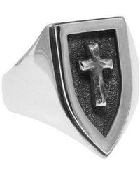 Luke Goldsmith - Silver Cross Signet Ring - Lyst