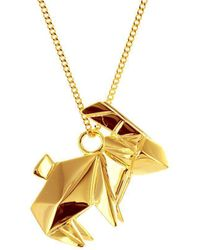 Origami Jewellery - Rabbit Necklace Gold Plated - Lyst