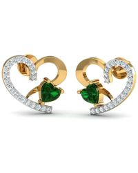 Diamoire Jewels - Heart Cut Emerald And Diamond Earrings In 10kt Yellow Gold - Lyst
