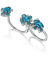 Madstone Design - Blue Topaz And Diamond Melting Ice Convertible Single-double Ring - Lyst