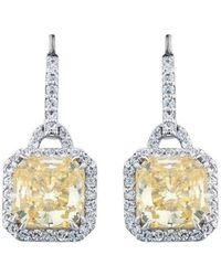 Fantasia by Deserio - Sterling Silver & Palladium Pave Set Vintage Canary Drop Earrings - Lyst